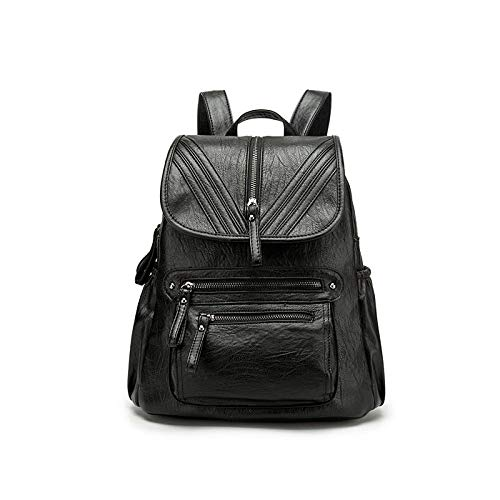 XZWNB Black PU funzione Vintage Fashion Zaino Bags Casual Multi School Soft vrAwvxZqE