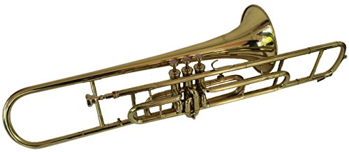 Queen Brass Trombone Bb Pitch Finish Brass Made W/Case+Mp Gold by Queen Brass