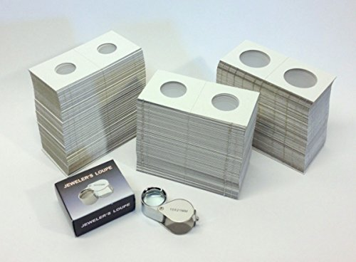 (Hobbymaster Cardboard Coin Holders (Coin Flips) - 300 assorted sizes PLUS 10x21 Loupe Magnifier)