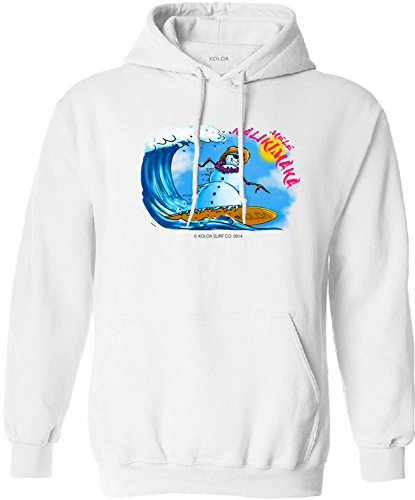 Joe's USA Koloa Surfing Snowman Logo Hoodie, Hooded Sweatshirt-M-White/c (Snowman Surfing)