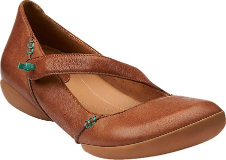 CLARKS Womens Felicia Plum Leather Mary Jane (6.5 M, Tan Leather)