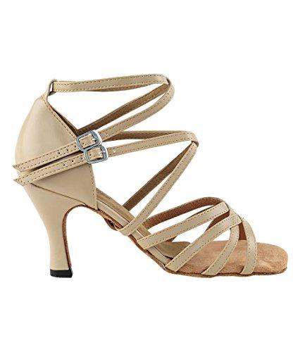 Scarpe Da Ballo Latino Per Ballare Tango Latino Da Donna Molto Fini 5008 - 3 Tacco + Scarpa Pieghevole In Pelle Marrone Chiaro