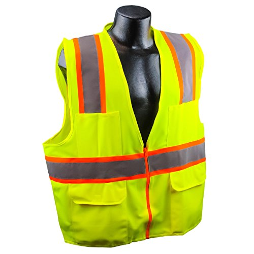 Full Source US2LN16 Class 2 Solid Surveyor Safety Vest - Yellow/Lime - Large