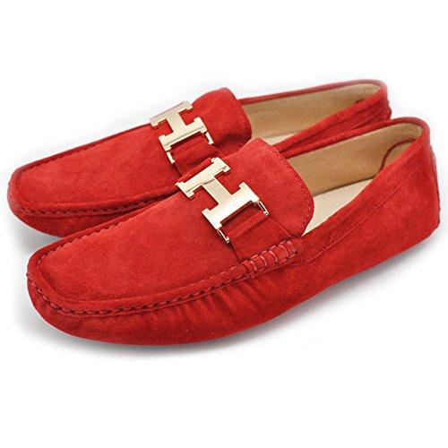 Fulinken Men's Leather Slip on Loafers Mens Shoes (11 D(M) US, Red)