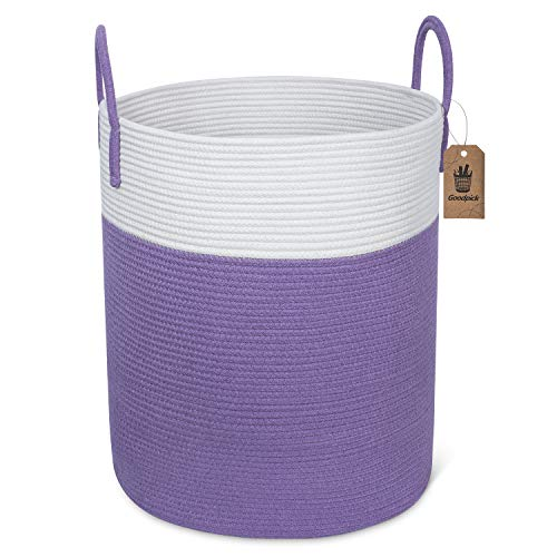 Goodpick Large Woven Laundry Hamper - Tall Cotton Rope Laundry Basket for Dirty Clothes - Baby Floor Decorative Basket -Toys Storage Organizer, Blanket, Pillow Basket Bedroom - Purple, 15.8''Dx19.6 H (Hamper Purple)