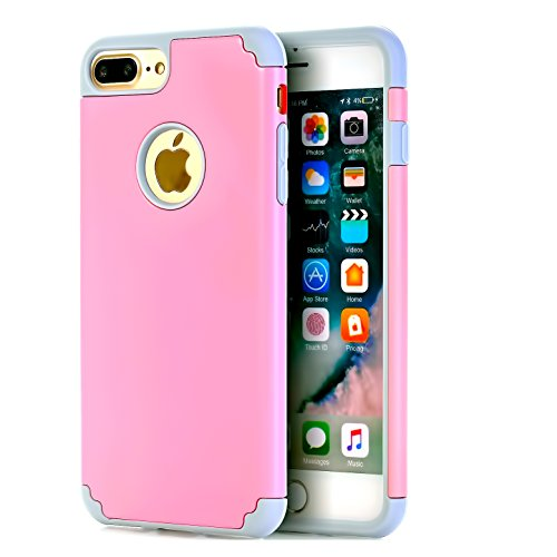 iPhone 7 Plus Case,iPhone 8 Plus Case,CaseHQ Extreme Heavy Duty Protective soft rubber TPU PC Bumper Case Anti-Scratch Shockproof Rugged Protection Cover for apple iPhone 7/8 Plus phone pink/gray