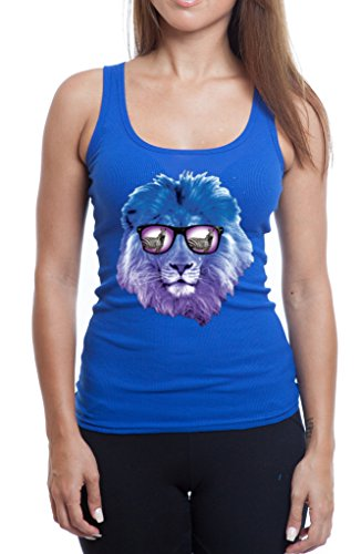 YM Wear Lion Galaxy Logo Glasses with Zebra Casual Hispter Women's Tank Top X-Large Royal - Glasses Hispter