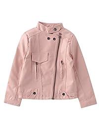 Mallimoda Girl's Faux Leather Moto Jackets Zipper Coat Outerwear