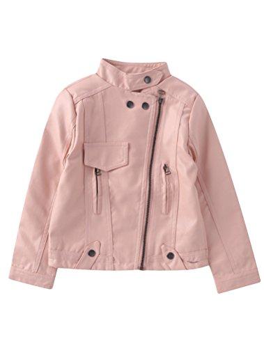 Mallimoda Girl's Faux Leather Moto Jackets Zipper Coat Outerwear Pink 8-9 Years ()
