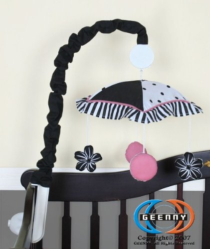 GEENNY Musical Mobile For Boutique Black White Flower and Dot 13 PCS Crib Bedding Set, Baby & Kids Zone