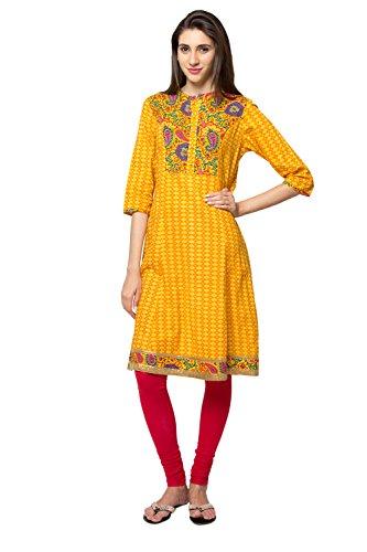 In-Sattva ethnicity Women's Diamond Print Kurta Tunic With colorful Paisley Yoke; MD; Yellow by In-Sattva