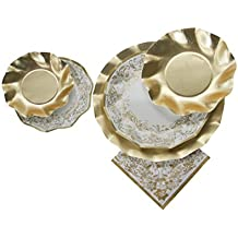 Sophistiplate Disposable Paper Plate Set, Noblesse Gold (patterned and gold plates), for 10 Guests, 70 Pieces for holidays, parties, showers, and any special entertaining!