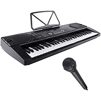 LAGRIMA Electric Piano Keyboard, 61 key Music Keyboard Piano, Portable Electronic Musical Piano with Microphone, Power Supply, Music Stand for Beginner (Kid ...