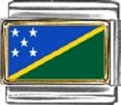 (Solomon Islands Photo Flag Italian Charm Bracelet Jewelry Link)