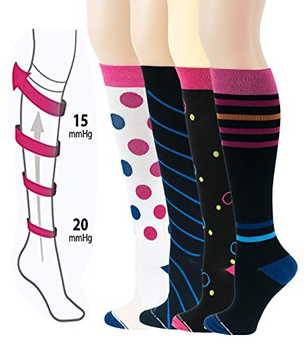 Different Touch 4 Pairs Compression Socks for Women Moderate (15-20 mmHg) Therapeutic Performance, Sports, Travelers, Anti-Fatigue Cotton Compression Knee High Socks (Assorted #7, 9-11)
