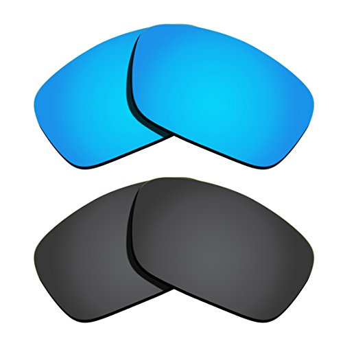 Polarized Replacement Lenses for Oakley Fuel Cell - Black&Ice Blue Mirrored Coating (Schwarz Oakley Fuel Cell Sonnenbrille)