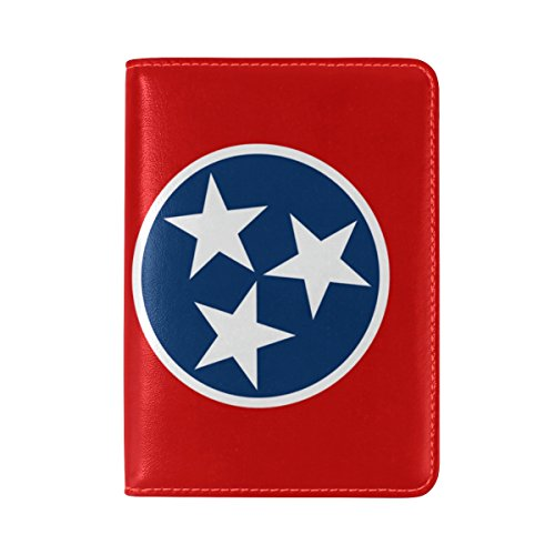 (Tennessee State Flag Leather Passport Cover - Holder - for Men & Women - Passport Case)