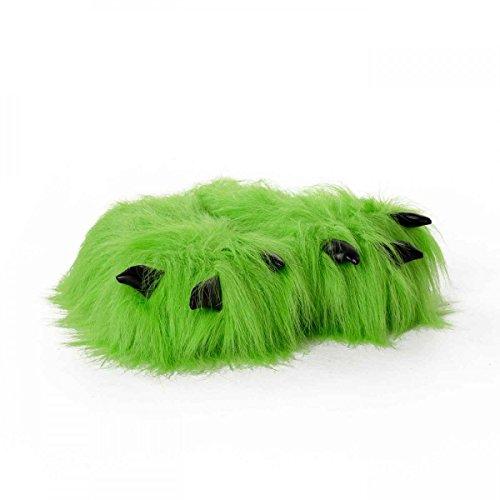 Funslippers®, Pantofole Artiglio Con Zampa Di Animali Pantofole Verdi Con Peluche Adulti E Bambini Mostro Artiglio Con Zampa Dorso Con Suola In Gomma