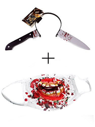 Zando Halloween Scars Fake Ghost Vampire Fancy Dress Party Cosplay Accessories Knife & Face Mask One - Diy Elvis Costume