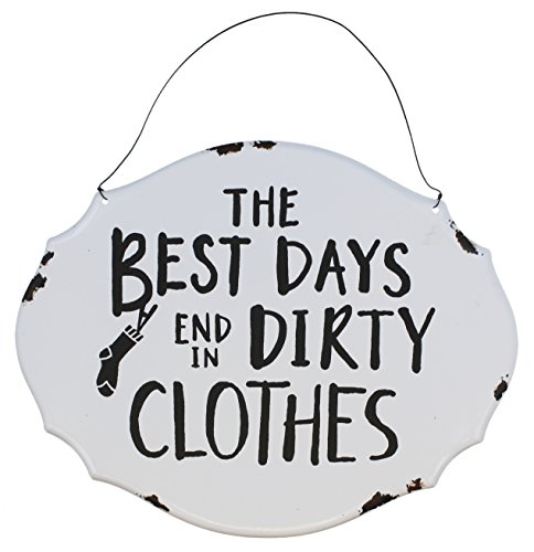 Metal Sign Enamel (Top Brass Home Decor Laundry Room Decor Wall Hanging Tin/Metal Enameled Sign - The Best Days End in Dirty Clothes)