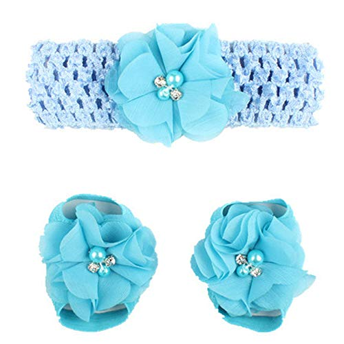 - Queen Head Wraps for Baby Girls 1Pair Infant Pearl Chiffon Barefoot Toddler Foot Flower Beach Sandals