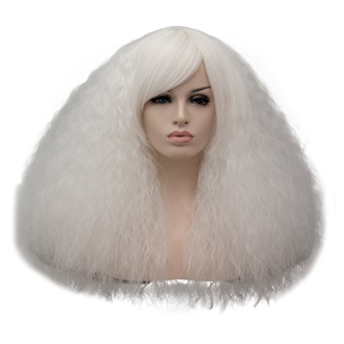 ELIM White Fluffy Wigs Short Curly Wig Synthetic Hair Oblique Bangs for Women with Wig Cap Z079P -