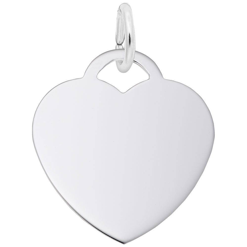 Rembrandt Charms, Classic Medium Heart.5mm Thick.925 Sterling Silver, Engravable