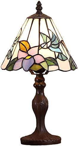 Bieye L10718 Hummingbird Tiffany Style Stained Glass Table Lamp Night Light
