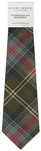 Clan Tie Sutherland Old Weathered Tartan Pure Wool Scottish Handmade Necktie