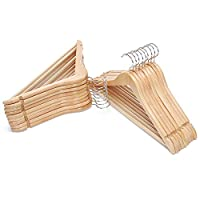 JS HOME Suit Hangers, Pack of 18, Solid Wood Coat/Pant Hanger with Cut notches, Non-Slip Tube