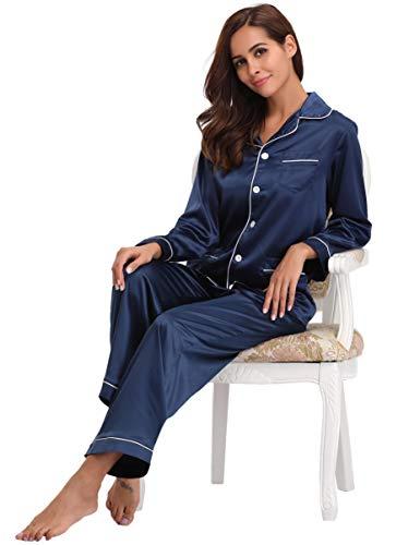 Vêtement Nuit Classique 2 Pcs Pyjama De Femmes Navy Satin Bleu Ensemble Abollria xBTwSqYZZ