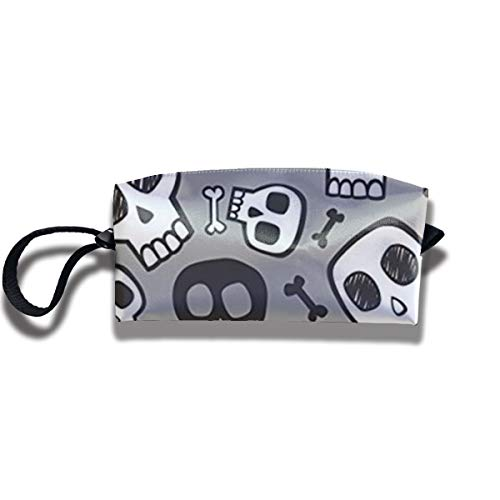 Skulls and Bones Halloween Cosmetic Bag for Women Travel Accessories Bag Makeup Pouch Durable Waterproof Handbag with Zipper Toiletry Bag -