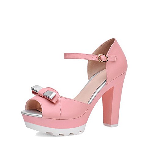 Amoonyfashion Donna Materiale Morbido Peep Toe Tacchi Alti Fibbia Sandali Assortiti Di Colore Rosa