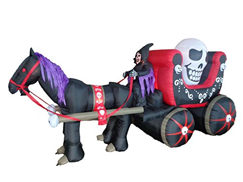 12 Foot Long Halloween Inflatable Carriage with Skeleton Ghost