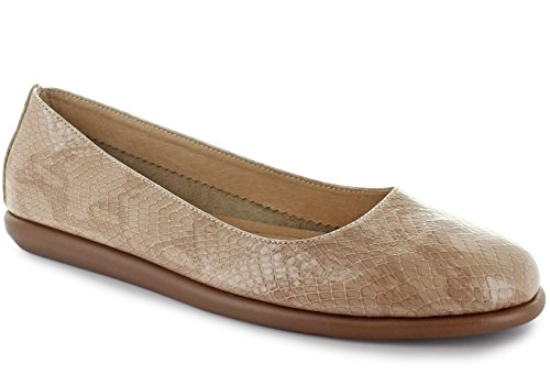 Joan Vass Patricia Womens Snake Embossed Leather Ballet Flat Shoes Nude (Navy Snake Leather Footwear)