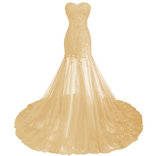 Dentelle De Perles Sexy En Tulle Transparent Longue Robes De Soirée Bal Or De Bess Femmes De Mariée