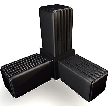Kunststoff//Polyamid Schwarz 1 Steckverbinder für Quadratrohr mit Gelenk