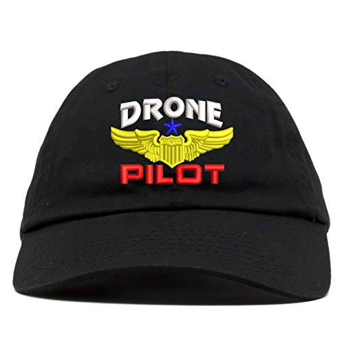 TOP LEVEL APPAREL Drone Pilot Aviation Wing Embroidered Soft Crown Dad Cap Black