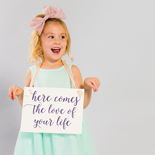Here Comes The Love Of Your Life Wedding Sign | Banner for Ring Bearer or Flower Girl