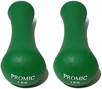 Juego de 2 mancuernas de neopreno de Promic en set de 0,5 - 5 kg ...