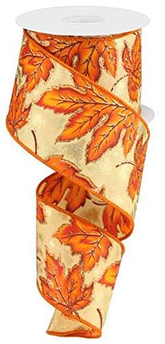 (Autumn Leaves with Glitter Wired Edge Ribbon, 10 Yards (Burgundy, Orange, Gold,)