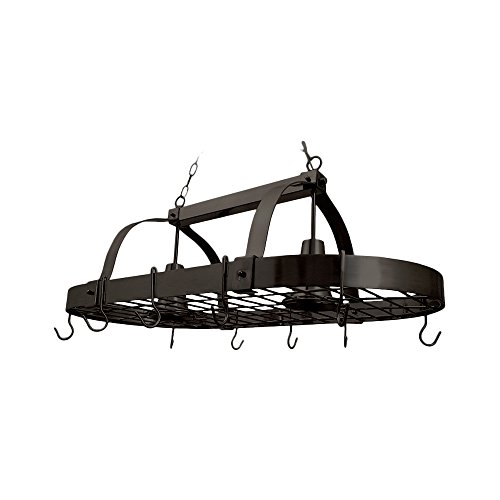 Elegant Designs PR1000-ORB 2 Light Kitchen Pot Rack Home Collection 2 Light Kitchen Pot Rack with Downlights, Oil Rubbed Bronze