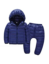 Happy Cherry Toddler Hooded Down Jacket Coats and Pants Suit Puffer Winter Snowsuit