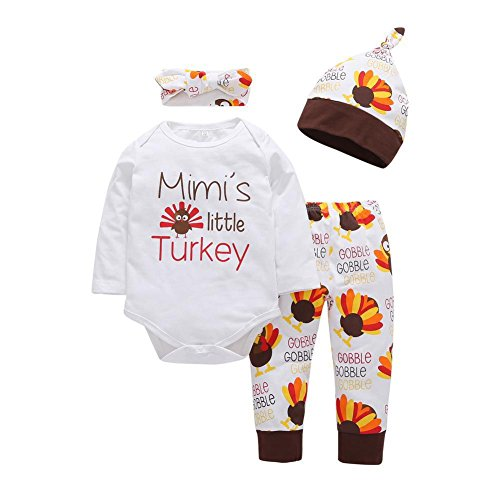 BAOBAOLAI Newborn Baby Girls Boys 4PCs Outfits Mimi's Little Turkey Romper + Bees Trousers + Hat + Headband Set -