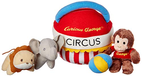 GUND Curious George Circus Sensory Skills Stuffed Animal Plush Playset, 5 pieces