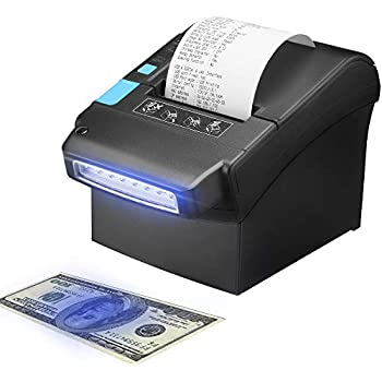 Thermal Printer with US Dollar Currency Money Detector, MUNBYN 80MM Pos Receipt Printer with USB LAN Serial Port for Home Business, Reception, Hotel, ...