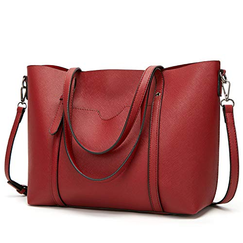 (LoZoDo Women Top Handle Satchel Handbags Shoulder Bag Tote Purse (F-Red))
