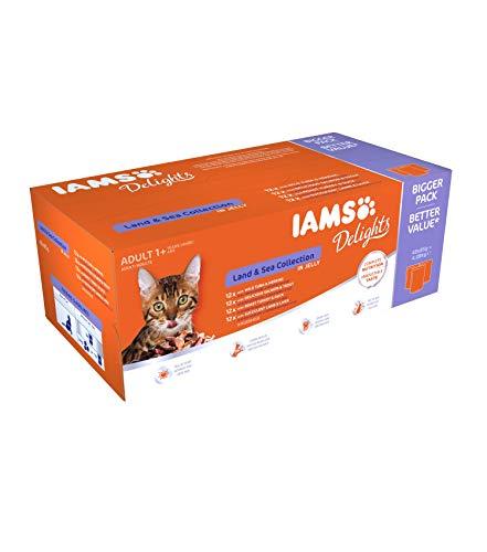 Iams Delights Land & Sea Collection Katzenfutter Nass – Multipack mit Fleisch und Fisch Sorten in Gelee oder Sauce…