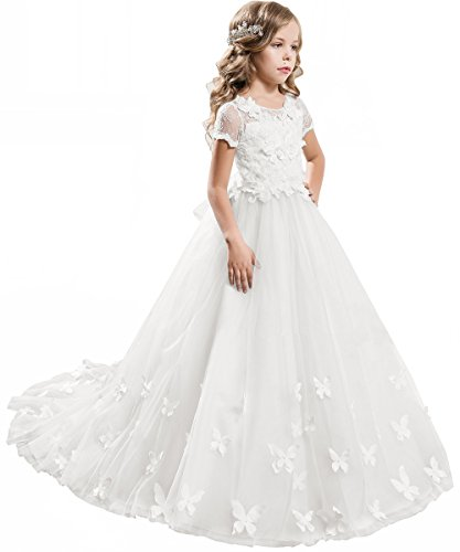 18b0e734e PLwedding Elegant Lace Applique Floor Length Flower Girl Dress Wedding  Birthday Pageant Ball Gown
