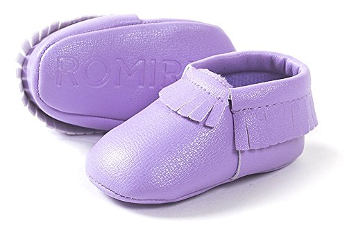 Soft Walker Shoes - Kuner Baby Boys Girls Tassel Soft Soled Non-Slip Crib Shoes Moccasins First Walkers (13cm(12-18months), Purple Pu)